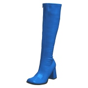 Blue boots block heel 7,5 cm - 70s years style hippie disco gogo under kneeboots patent leather