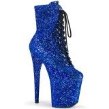 Blue glitter 20 cm FLAMINGO-1020GWR Exotic pole dance ankle boots