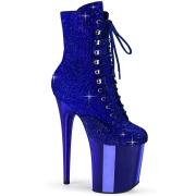 Blue rhinestones 20 cm FLAMINGO-1020CHRS pleaser high heels ankle boots