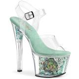 Blue transparent 18 cm SKY-308CF Exotic stripper high heel shoes