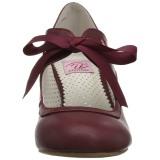 Borgogna 6,5 cm WIGGLE-32 Pinup scarpe décolleté con tacco spesso