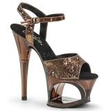 Bronze 18 cm MOON-710GT glitter platform high heels shoes