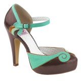 Brown 11,5 cm retro vintage BETTIE-17 Pinup pumps with hidden platform