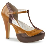 Brown 11,5 cm retro vintage BETTIE-29 Pinup pumps with hidden platform