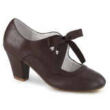 Brown 6,5 cm WIGGLE-32 retro vintage cuben heels maryjane pumps