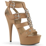 Brown Leatherette 15 cm DELIGHT-658 pleaser shoes with high heels