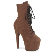 Brown Leatherette 18 cm ADORE-1020FS lace up ankle boots