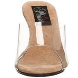 Brown Transparent 8 cm BELLE-301 High Women Mules Shoes for Men