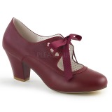 Burgundy 6,5 cm WIGGLE-32 Pinup Pumps Shoes with Cuben Heels