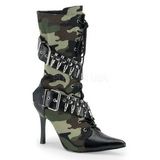 Camouflage 9,5 cm MILITANT-128 Flat Ankle Calf Boots Women