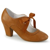 Caramel 6,5 cm WIGGLE-32 retro vintage scarpe décolleté maryjane tacco spesso