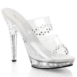 Clear Rhinestone Platform 13 cm LIP-102RS Women Mules Shoes