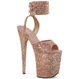 Copper Glitter 20 cm Pleaser FLAMINGO-891LG High Heels Platform