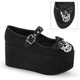 Cranio tela 8 cm CLICK-02-3 scarpe lolita gotico calzature suola spessa