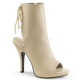 Cream Leatherette 12,5 cm EVE-102 big size ankle boots womens