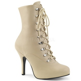 Cream Leatherette 12,5 cm EVE-106 big size ankle boots womens
