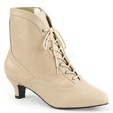 Cream Leatherette 5 cm FAB-1005 big size ankle boots womens