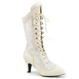 Cream Leatherette 7,5 cm DIVINE-1050 big size ankle boots womens