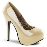 Cream Shiny 14,5 cm BORDELLO TEEZE-06 Platform Pumps