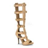 Crema 11,5 cm GLADIATOR-208 piatti sandali al ginocchio gladiatore da donna