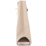Crema Ecopelle 12,5 cm EVE-102 grandi taglie stivaletti donna
