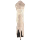 Crema Ecopelle 13,5 cm CHLOE-115 grandi taglie stivaletti donna