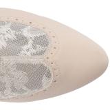 Crema Ecopelle 7,5 cm DIVINE-1050 grandi taglie stivaletti donna