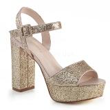 Dorato 11,5 cm CELESTE-09 sandali con tacco largo e plateau glitter