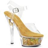 Dorato 15 cm KISS-208GF scintillare plateau sandali donna con tacco