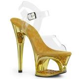 Dorato 18 cm MOON-708GFT scintillare plateau sandali donna con tacco