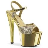 Dorato 18 cm Pleaser SKY-310SQ Lustrini sandali con tacco