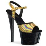 Dorato 18 cm SKY-309HG Ologramma plateau sandali donna con tacco