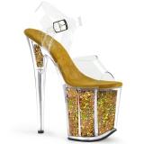 Dorato 20 cm FLAMINGO-808GF sandali da cubista e spogliarellista scintillare