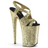 Dorato 23 cm INFINITY-930LG scintillare plateau sandali donna con tacco