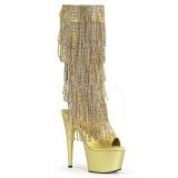 Dorato Strass 18 cm ADORE-2024RSF stivali con frange donna tacco altissime