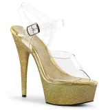 Dorato scintillare 15 cm Pleaser DELIGHT-608HG scarpe con tacchi da pole dance