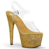 Dorato scintillare 18 cm Pleaser ADORE-708HMG scarpe con tacchi da pole dance