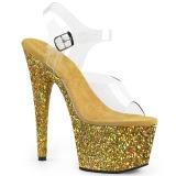 Dorato scintillare 18 cm Pleaser ADORE-708LG scarpe con tacchi da pole dance