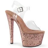 Dorato scintillare 18 cm Pleaser SKY-308LG scarpe con tacchi da pole dance