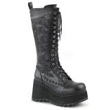 Ecopelle 9 cm SCENE-107 Stivali punk nere con i lacci