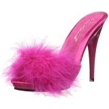 Fuchsia 13 cm POISE-501F Marabou Feathers Mules Shoes