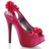 Fuchsia Satin 14,5 cm TEEZE-56 Platform High Heeled Sandal Shoes
