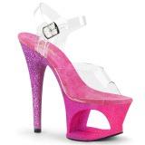 Fucsia scintillare 18 cm Pleaser MOON-708OMBRE scarpe con tacchi da pole dance
