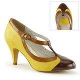Giallo 8 cm PEACH-03 Pinup scarpe décolleté con tacchi bassi