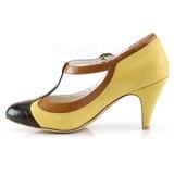 Giallo 8 cm retro vintage PEACH-03 Pinup scarpe décolleté con tacchi bassi
