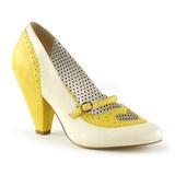 Giallo 9,5 cm POPPY-18 Pinup scarpe décolleté con tacchi bassi