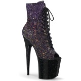 Glitter 20 cm FLAMINGO-1021OMBG peep toe exotic pole dance ankle boots