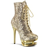 Gold 15,5 cm BLONDIE-R-1020 lace up platform ankle boots in sequins