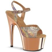Gold 18 cm ADORE-709HM Glitter Platform High Heels Shoes