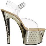 Gold 18 cm Pleaser STARDUST-708 High Heels Chrome Platform